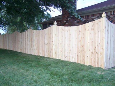 5 Foot Cedar Privacy With Concave Cut And Gothic Posts